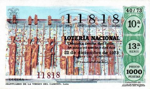 Décimo de Lotería Nacional de 1973 Sorteo 40 - «SANTUARIO DE LA VIRGEN DEL CAMINO». León