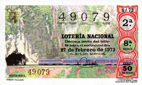 Décimo de Lotería Nacional de 1973 Sorteo 6 - «TREN TALGO»