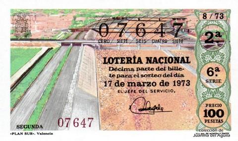 Décimo de Lotería Nacional de 1973 Sorteo 8 - «PLAN SUR». Valencia