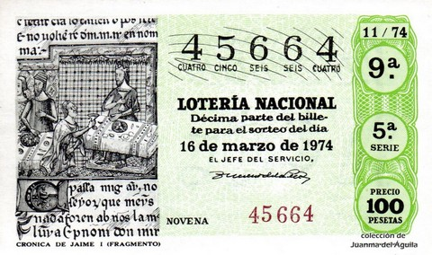 Décimo de Lotería Nacional de 1974 Sorteo 11 - <a href=