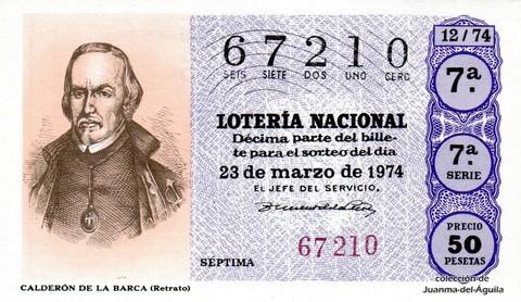 Décimo de Lotería Nacional de 1974 Sorteo 12 - CALDERÓN DE LA BARCA (Retrato)