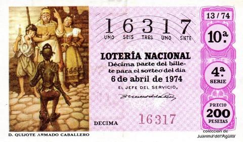 Décimo de Lotería Nacional de 1974 Sorteo 13 - D. QUIJOTE ARMADO CABALLERO