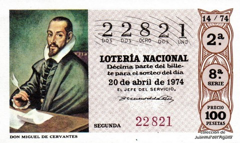 Décimo de Lotería Nacional de 1974 Sorteo 14 - DON MIGUEL DE CERVANTES