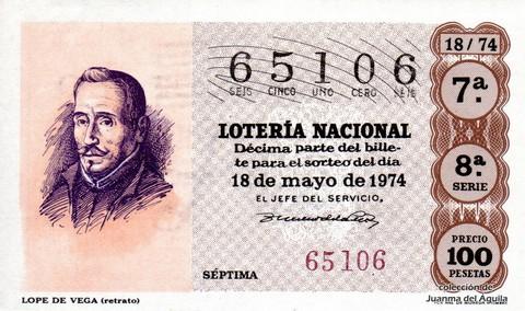 Décimo de Lotería Nacional de 1974 Sorteo 18 - LOPE DE VEGA (retrato)