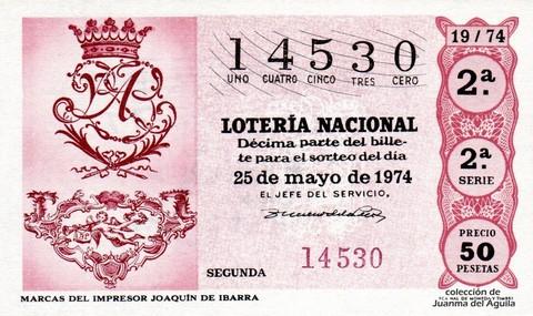 Décimo de Lotería Nacional de 1974 Sorteo 19 - MARCAS DEL IMPRESOR <a href=