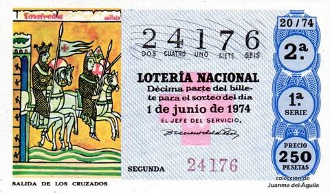 Décimo de Lotería Nacional de 1974 Sorteo 20 - SALIDA DE LOS CRUZADOS