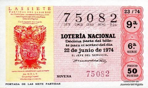 Décimo de Lotería Nacional de 1974 Sorteo 23 - <a href=