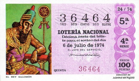 Décimo de Lotería Nacional de 1974 Sorteo 24 - EL REY SALOMÓN