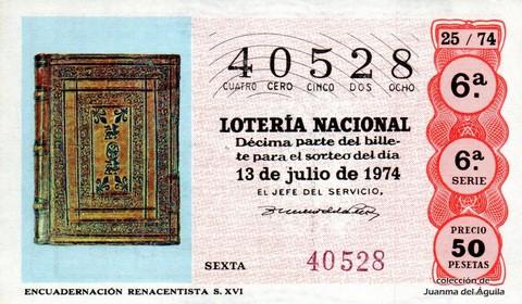 Décimo de Lotería Nacional de 1974 Sorteo 25 - ENCUADERNACIÓN RENACENTISTA. S. XVI