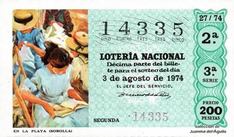 Décimo de Lotería Nacional de 1974 Sorteo 27 - EN LA PLAYA (SOROLLA)
