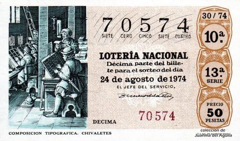 Décimo de Lotería Nacional de 1974 Sorteo 30 - COMPOSICION TIPOGRAFICA. CHIVALETES