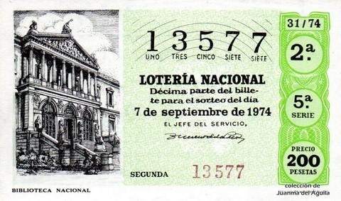 Décimo de Lotería Nacional de 1974 Sorteo 31 - <a href=
