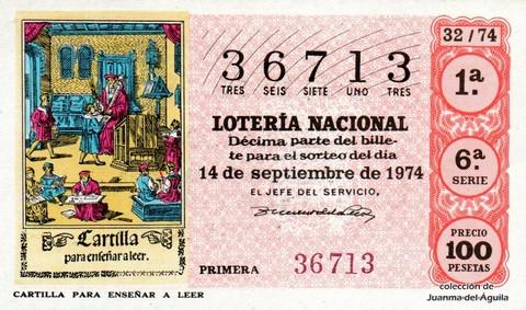 Décimo de Lotería Nacional de 1974 Sorteo 32 - CARTILLA PARA ENSEÑAR A LEER