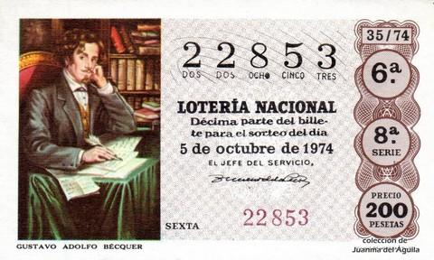 Décimo de Lotería Nacional de 1974 Sorteo 35 - GUSTAVO ADOLFO BÉCQUER