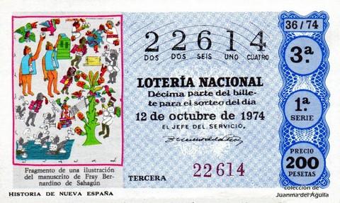 Décimo de Lotería Nacional de 1974 Sorteo 36 - HISTORIA DE NUEVA ESPAÑA