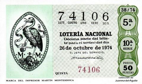 Décimo de Lotería Nacional de 1974 Sorteo 38 - MARCA DEL IMPRESOR MARTÍN MONTESDOCA