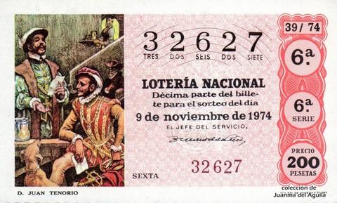 Décimo de Lotería Nacional de 1974 Sorteo 39 - <a href=