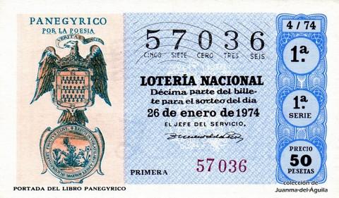 Décimo de Lotería Nacional de 1974 Sorteo 4 - PORTADA DEL LIBRO PANEGYRICO