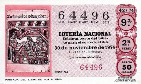 Décimo de Lotería 1974 / 42
