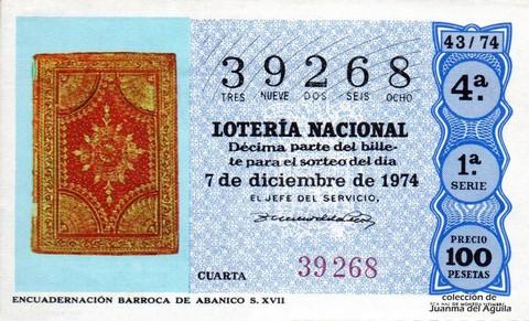 Décimo de Lotería Nacional de 1974 Sorteo 43 - ENCUADERNACIÓN BARROCA DE ABANICO S. XVII