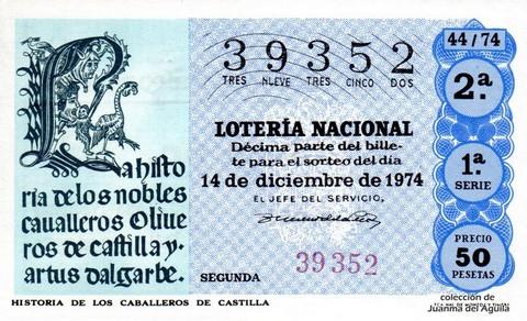 Décimo de Lotería Nacional de 1974 Sorteo 44 - HISTORIA DE LOS CABALLEROS DE CASTILLA
