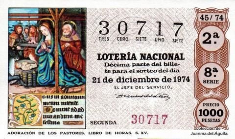 Décimo de Lotería Nacional de 1974 Sorteo 45 - ADORACIÓN DE LOS PASTORES. LIBRO DE HORAS. S. XV.