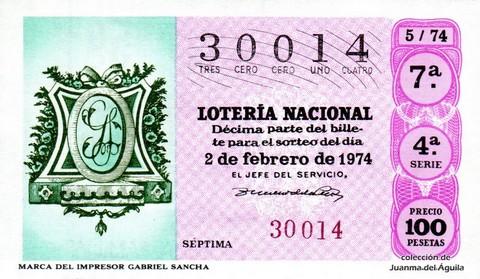 Décimo de Lotería Nacional de 1974 Sorteo 5 - MARCA DEL IMPRESOR  <a href=