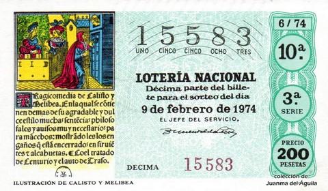 Décimo de Lotería Nacional de 1974 Sorteo 6 - <a href=