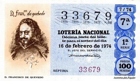 Décimo de Lotería Nacional de 1974 Sorteo 7 - D. FRANCISCO DE QUEVEDO