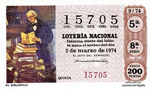 Décimo de Lotería Nacional de 1974 Sorteo 9 - EL BIBLIÓFILO