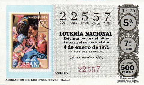 Décimo de Lotería 1975 / 1