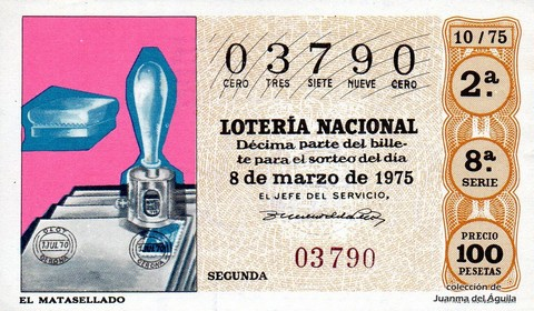 Décimo de Lotería 1975 / 10