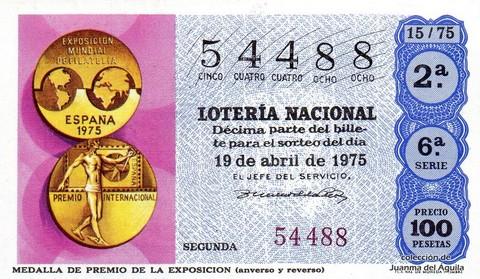 Décimo de Lotería 1975 / 15