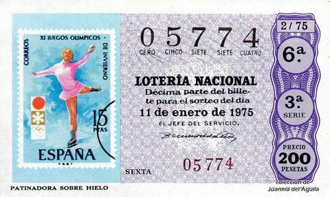 Décimo de Lotería 1975 / 2