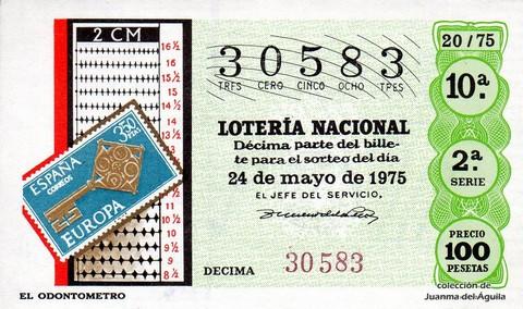 Décimo de Lotería 1975 / 20