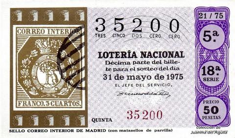 Décimo de Lotería 1975 / 21