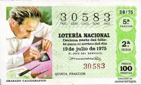 Décimo de Lotería 1975 / 28