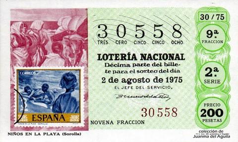 Décimo de Lotería 1975 / 30
