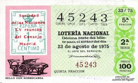 Décimo de Lotería 1975 / 33