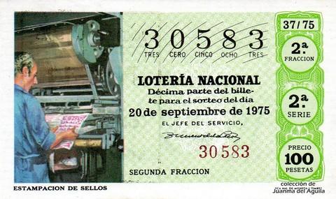 Décimo de Lotería 1975 / 37