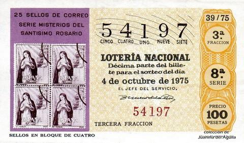 Décimo de Lotería 1975 / 39