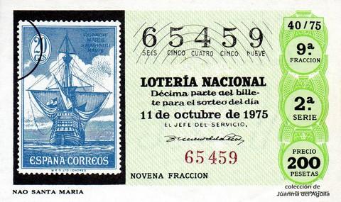 Décimo de Lotería 1975 / 40