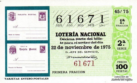 Décimo de Lotería 1975 / 45