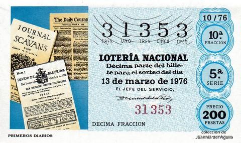 Décimo de Lotería Nacional de 1976 Sorteo 10 - PRIMEROS DIARIOS