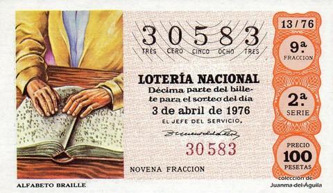Décimo de Lotería Nacional de 1976 Sorteo 13 - ALFABETO BRAILLE