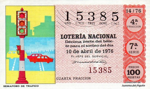 Décimo de Lotería Nacional de 1976 Sorteo 14 - SEMAFORO DE TRAFICO