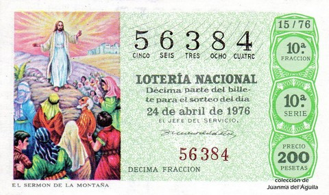 Décimo de Lotería Nacional de 1976 Sorteo 15 - EL SERMON DE LA MONTAÑA