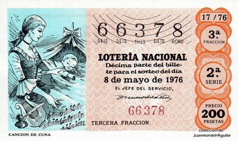 Décimo de Lotería Nacional de 1976 Sorteo 17 - CANCION DE CUNA