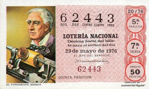 Décimo de Lotería Nacional de 1976 Sorteo 20 - EL FONOGRAFO. EDISON