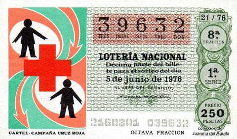 Décimo de Lotería Nacional de 1976 Sorteo 21 - CARTEL. CAMPAÑA CRUZ ROJA